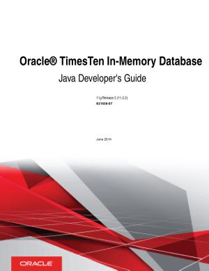 Oracle Timesten In Memory Database Java Developers Guide