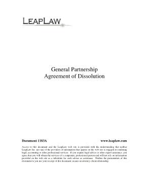 Partnership Dissolution Agreement Template