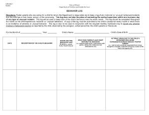 Free Download PDF Books, Behavior Log Template