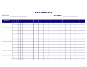 Monthly Behavior Log Template
