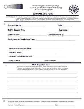 Job Call Log Form Template