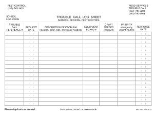 Printable Call Log Sheet Template