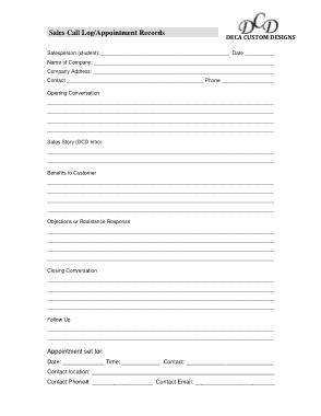 Printable Sales Call Log Template
