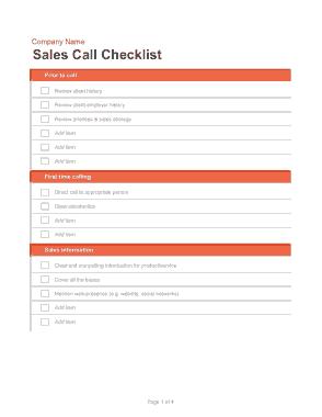 Sales Call Log Template