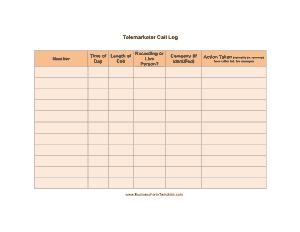 Telemarketer Call Log Template