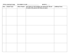 Free Download PDF Books, Teacher Contact Log Template