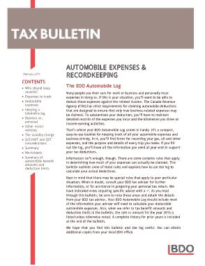 Automobile Expense Log Template