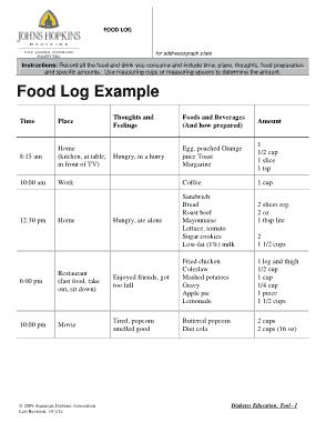 Free Download PDF Books, Diabetic Food Log Example Template