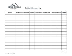 Company Building Maintenance Log Template