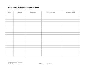 Equipment Maintenance Record  Sheet Template