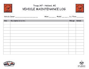 Holland Vehicle Maintenance Log Template