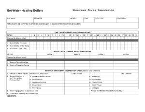 Hot Water Heating Boilers Maintenance Log Sheet Template
