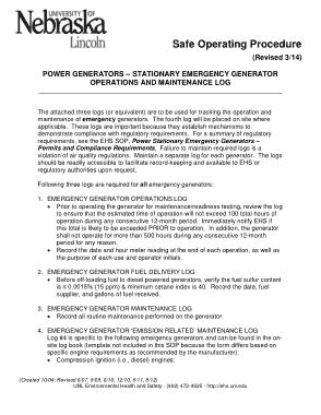 Operation and Maintenance Log Sheet Template