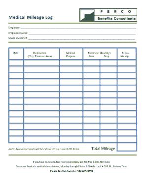 Medical Mileage Log Form Template