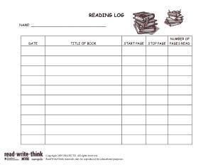 School Reading Log Template