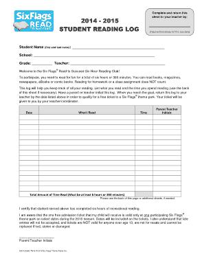 Student Reading Log High School Template