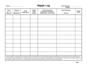Free Download PDF Books, Automobile Repair Log Template