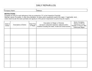 Daily Repair Log Pdf Template