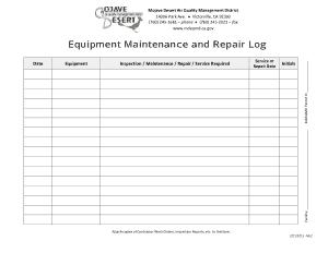 Free Download PDF Books, Equipment Maintenance Repair Log Sheet Template