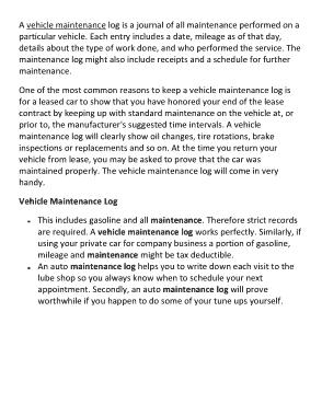 Free Download PDF Books, Vehicle Maintenance Log Sample Template