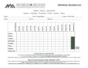 Free Download PDF Books, Individual Running Mileage Log Template