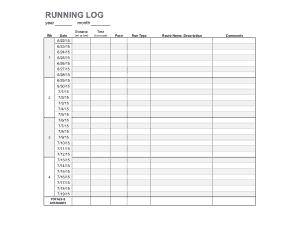 Simple Running Log Template