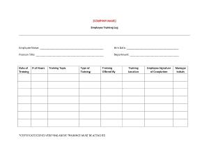 Free Download PDF Books, Employee Training Log Sheet Template