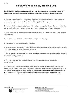 Free Download PDF Books, Food Safety Training Log Sheet Template
