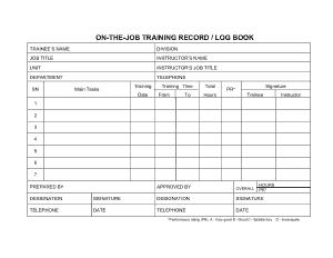 On-The-Job Training Log Template