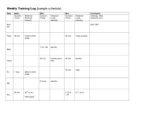 Running Training Log Sample Template