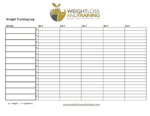 Weight Loss Training Log Template