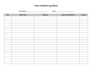 Free Download PDF Books, Tutor Student Log Sheet Template