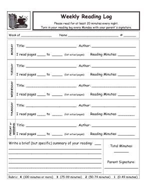 Free Download PDF Books, Weekly Reading Log Free Template