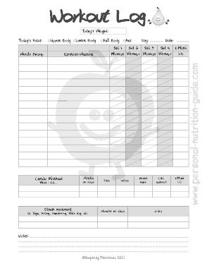 Free Download PDF Books, Blank Workout Log Template