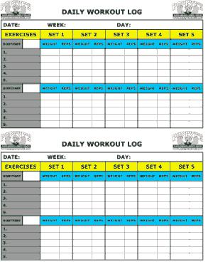 Free Download PDF Books, Daily Workout Log Sheet Template