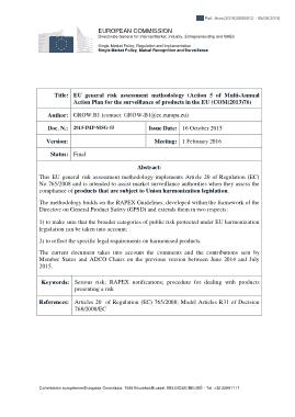 Product Risk Assessment Methodology Template