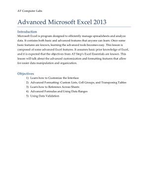 Advanced Microsoft Excel 2013, Excel Formulas Tutorial