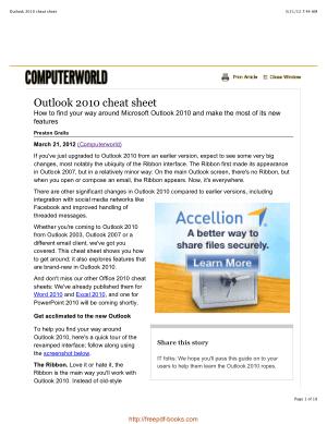 Outlook 2010 Cheat Sheet