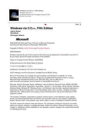 Free Download PDF Books, Windows via C C++ 5th Edition – FreePdfBook